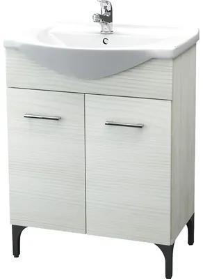 Set mobilier baie Rovere Bianco, incl. baza lavoar si lavoar ceramic
