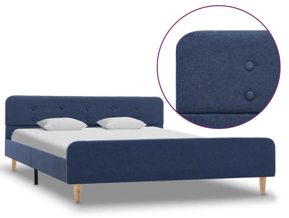 284909 vidaXL Cadru de pat, albastru, 140 x 200 cm, material textil