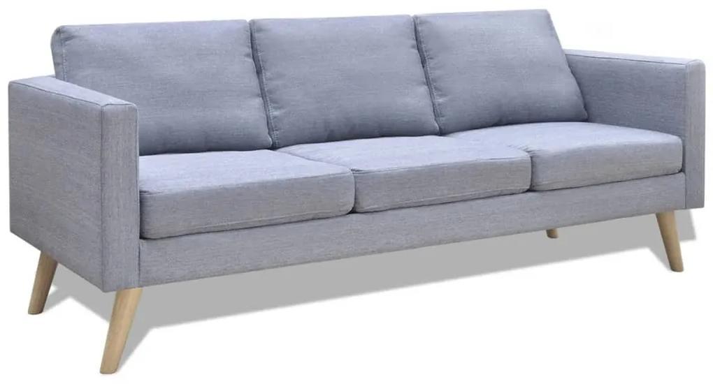 242219 vidaXL Canapea cu 3 locuri, material textil, gri deschis