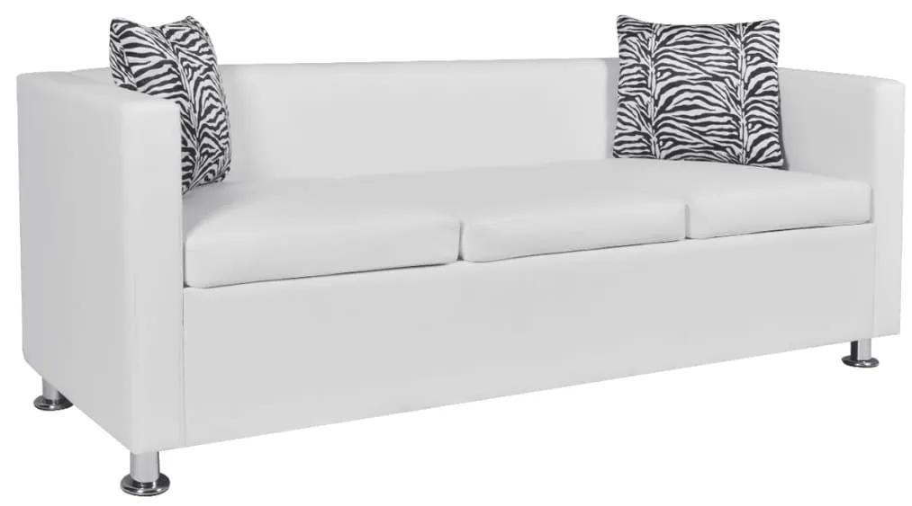 242211 vidaXL Canapea cu 3 locuri, alb, piele artificială