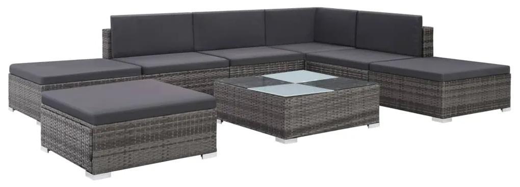 44421 vidaXL Set mobilier de grădină cu perne, 8 piese, gri, poliratan