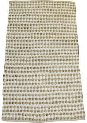 Covor tesut din carpe natur, noduri, bej 60x110 cm