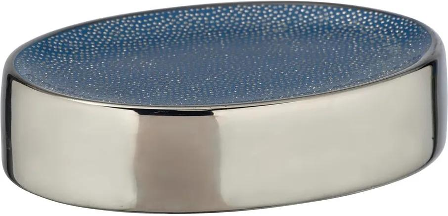 Săpunieră ceramică Wenko Badi, albastru - argintiu