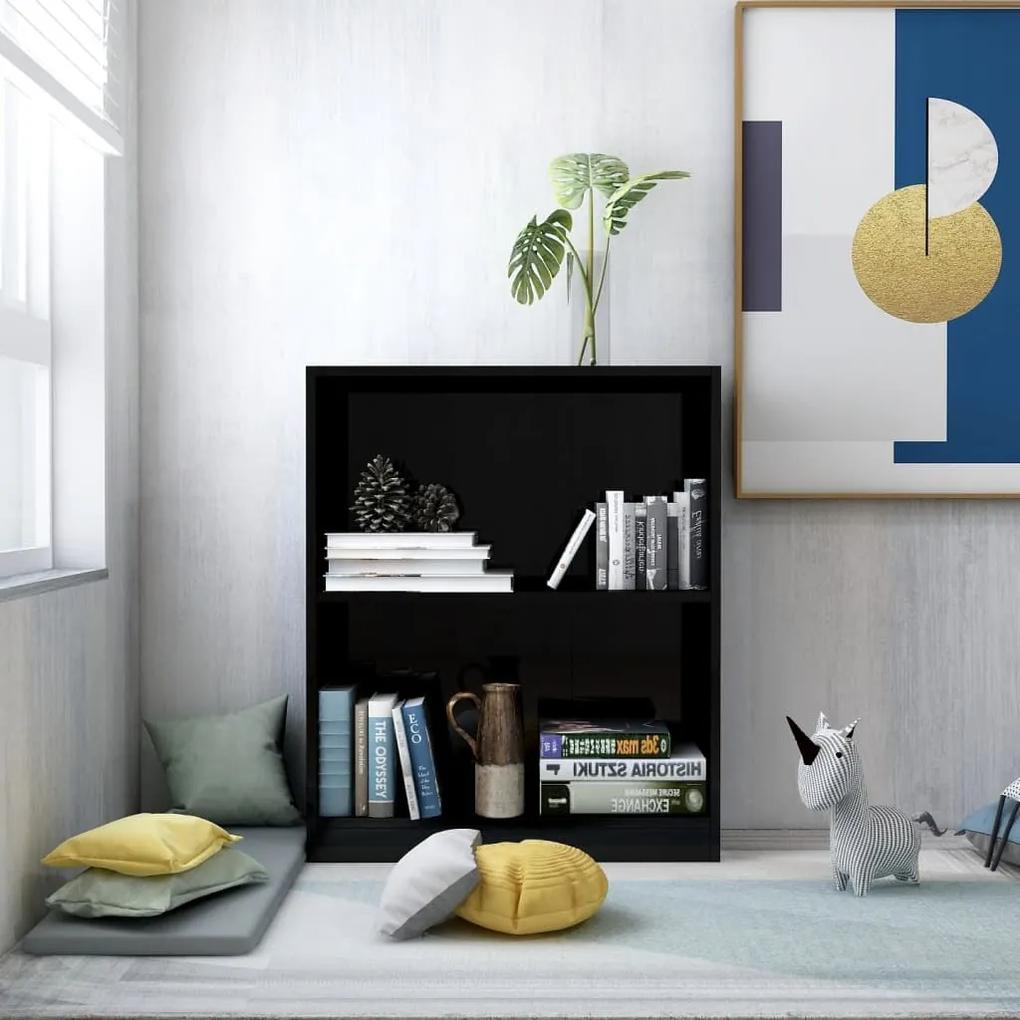 800862 vidaXL Bibliotecă, negru extralucios, 60 x 24 x 74,5 cm, PAL