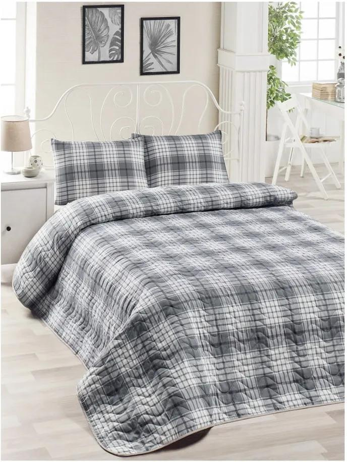 Set cuvertură de pat și față de pernă din bumbac Muro Gerro, 160 x 220 cm, gri