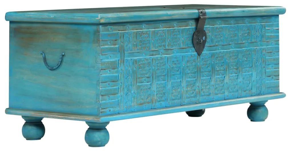 246479 vidaXL Cufăr din lemn masiv de mango, 100 x 40 x 41 cm, albastru
