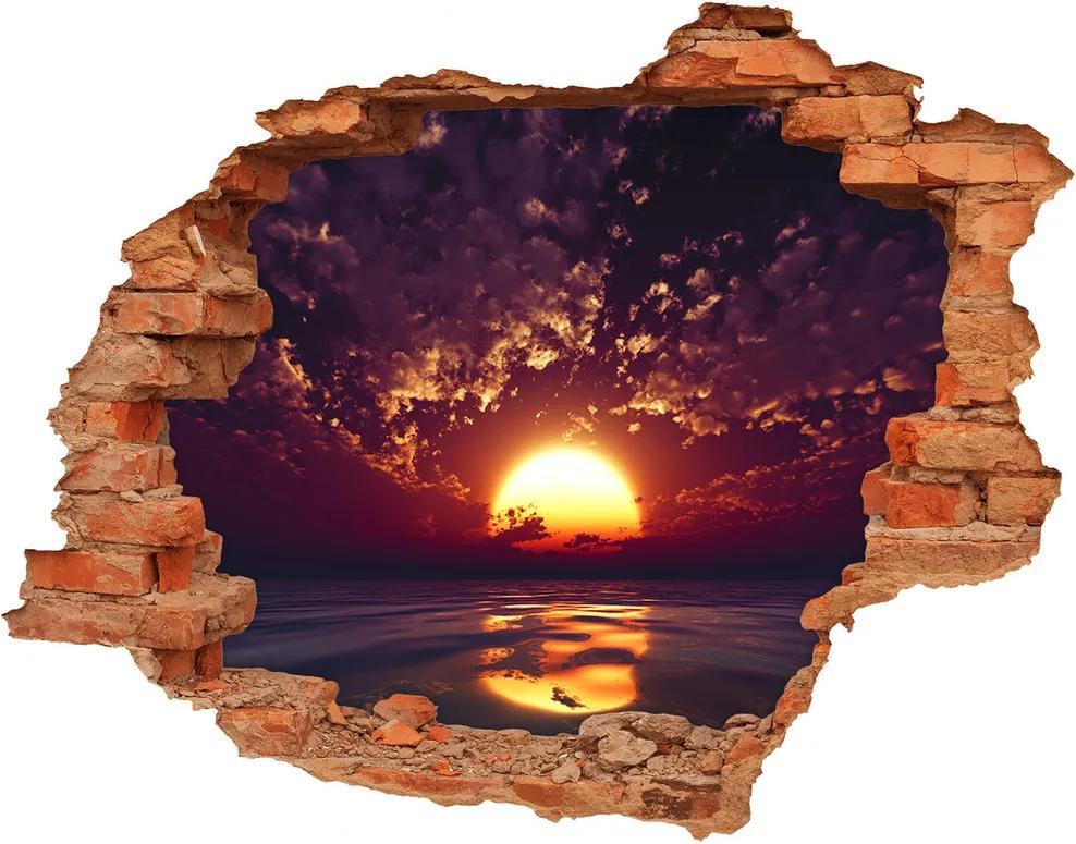 Autocolant 3D gaura cu priveliște Apus de soare
