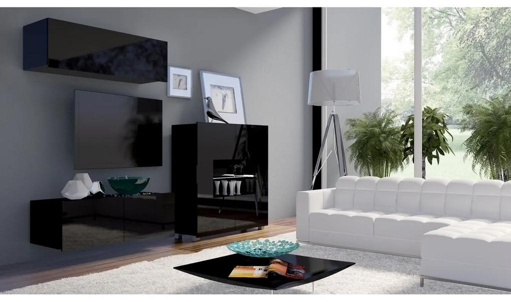 Expedo Set living BRINICA NR9, negru/negru luciu + LED alb