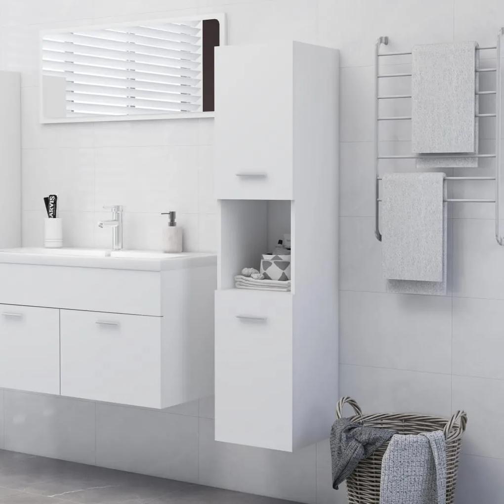 804997 vidaXL Dulap de baie, alb, 30 x 30 x 130 cm, PAL