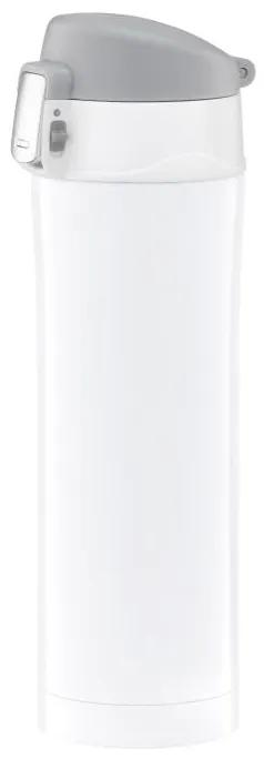 Cana termica 420ml cu buton de siguranta alb Glossy