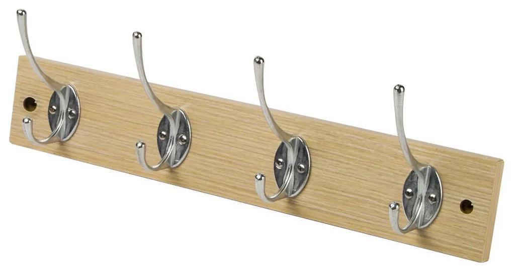 Cuier hol cu 4 agatatori, Stejar, 40x7x1.2 cm