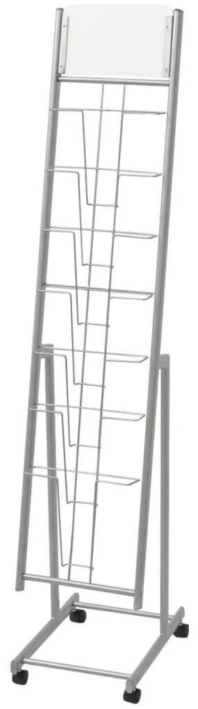 30101 vidaXL Raft reviste A4, argintiu, 38x27x139 cm