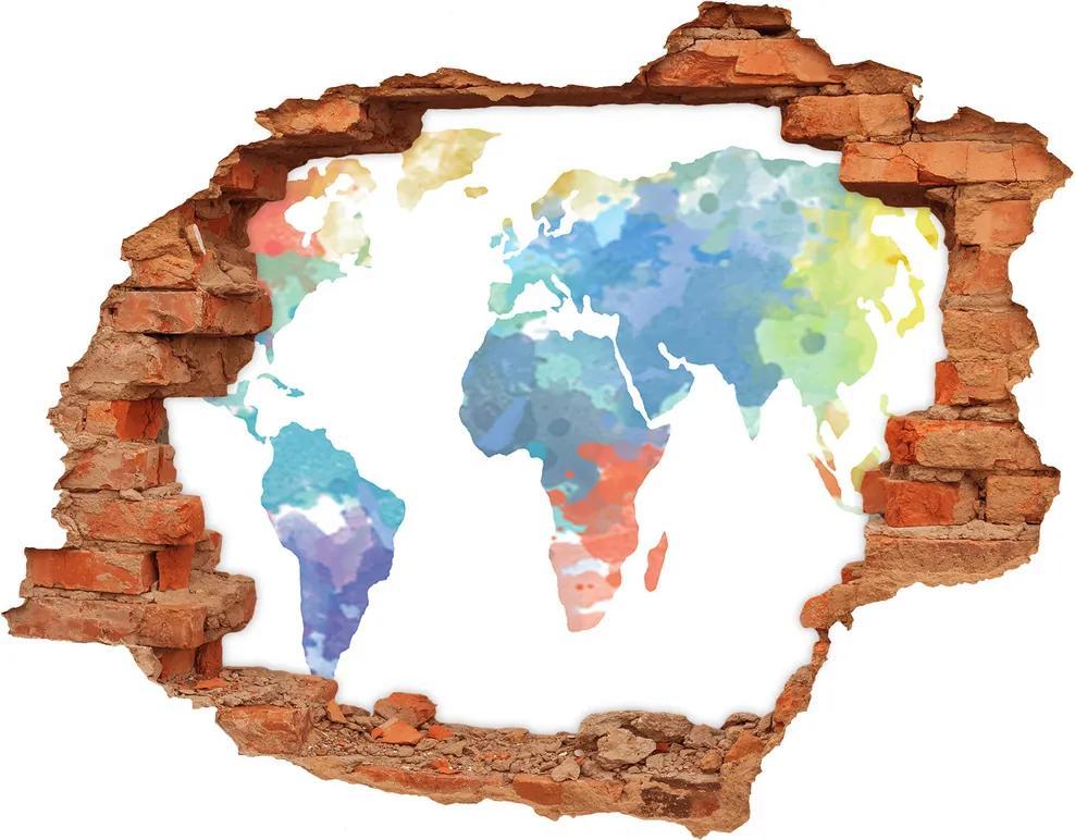 Samolepiaca diera na stenu Mapa sveta