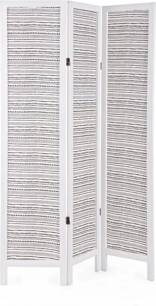 Paravan decorativ lemn decorat cu bumbac Pattern 120 cm x 6 cm x 170 h
