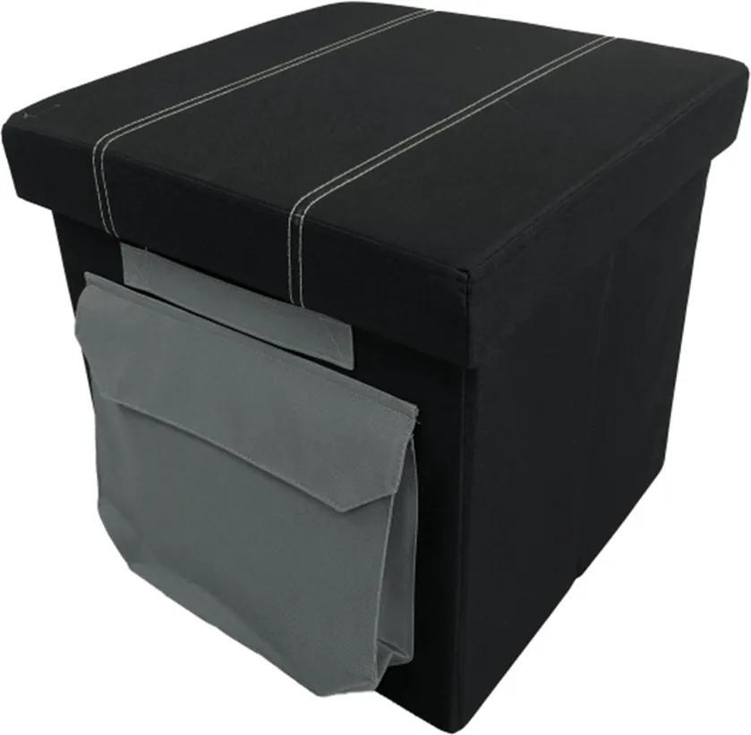 Taburet, material textil negru, IDANA
