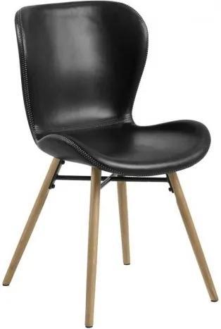 Scaun tapitat cu piele ecologica si picioare din lemn Batilda A-1 Negru / Stejar, l47xA56xH82,5 cm