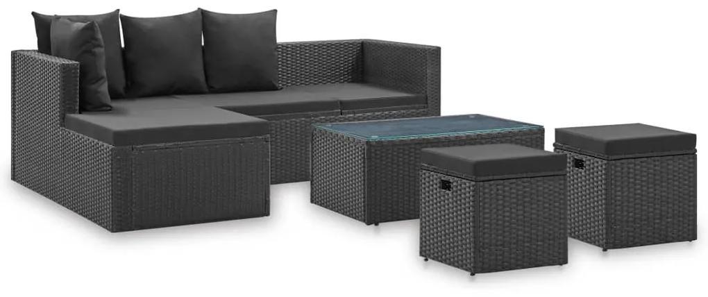 46105 vidaXL Set mobilier de grădină cu perne, 4 piese, negru, poliratan