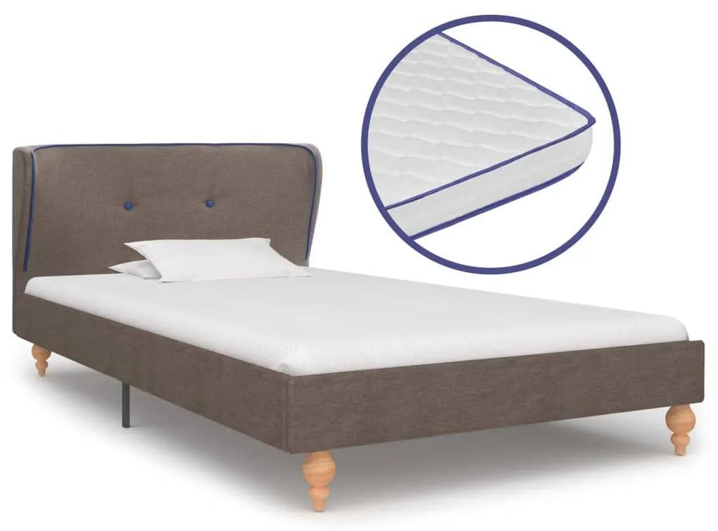 277330 vidaXL Pat cu saltea cu spumă memorie, gri taupe, 90 x 200 cm, textil