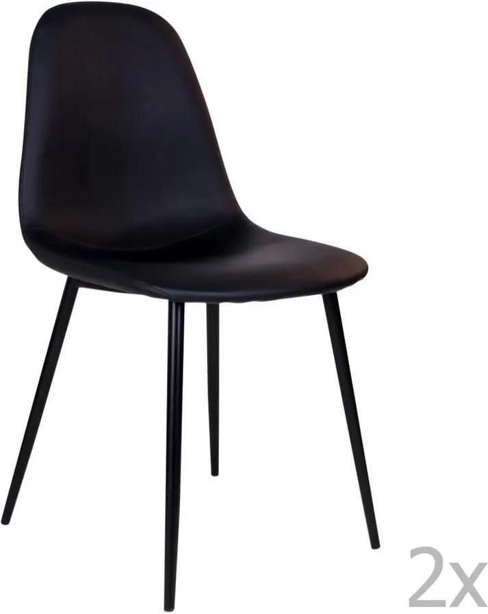 Set 2 scaune cu picioare negre House Nordic Stockholm, negru