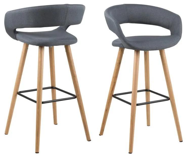 Set 2 scaune de bar Actona Grace, gri închis