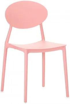 Scaun din plastic, cu picioare din plastic Lolita Pink, l47xA42xH82cm