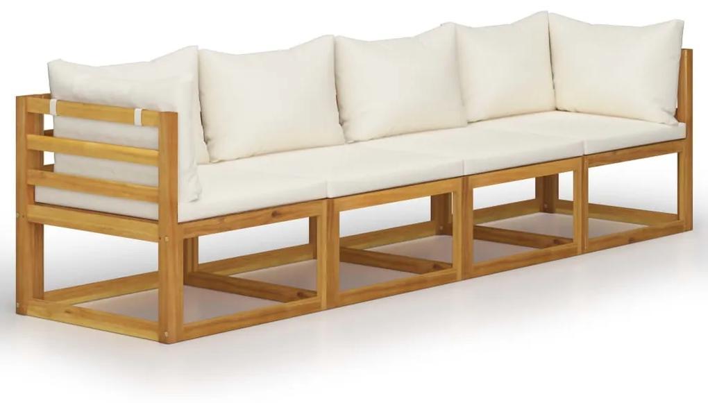 3057639 vidaXL Canapea de grădină 4 locuri cu perne, crem, lemn masiv acacia