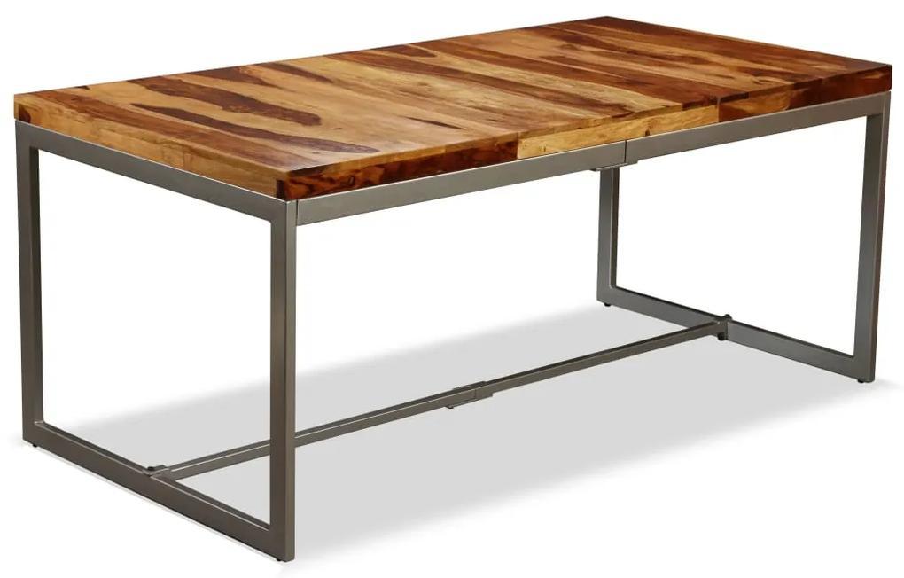 244797 vidaXL Masă de bucătărie, lemn masiv de sheesham și oțel, 180 cm