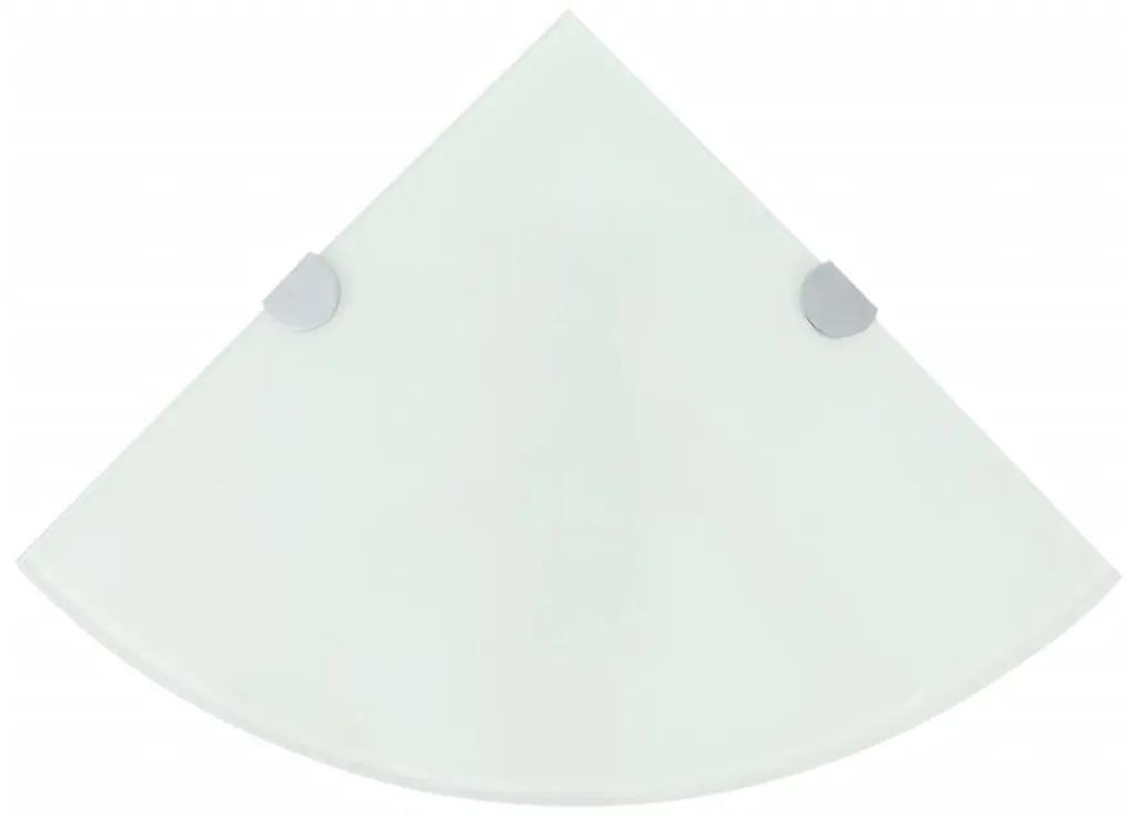 243858 vidaXL Raft de colț cu suporți din crom, sticlă, 25 x 25 cm