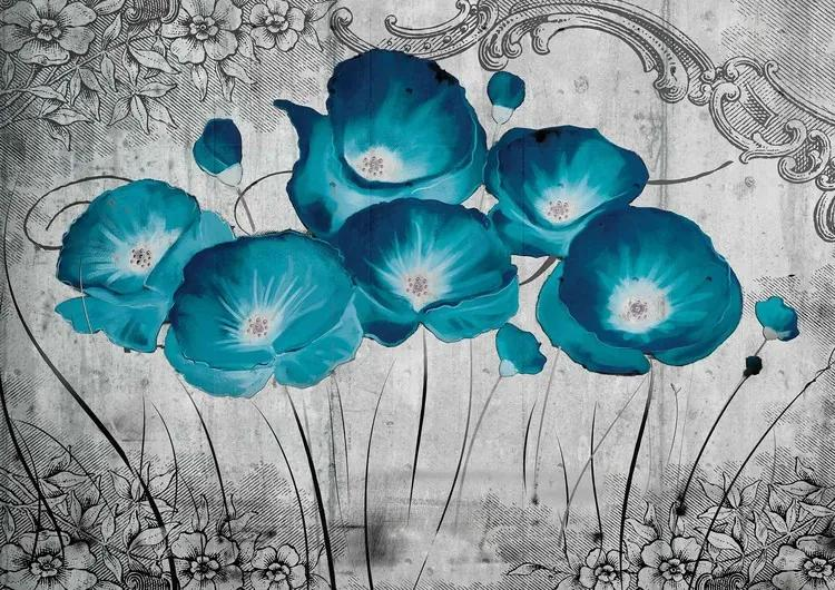 Vintage Flowers Blue Grey Fototapet, (368 x 254 cm)