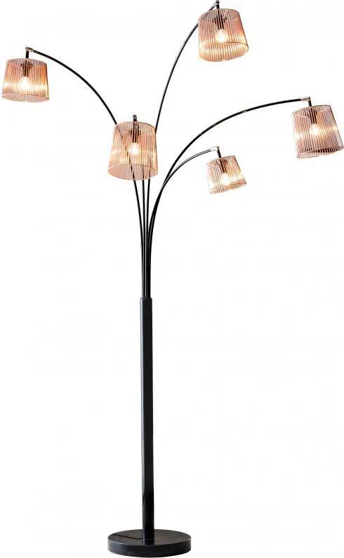 Lampadar din otel/cupru/marmura THIS & THAT 215 cm negru, 5 becuri