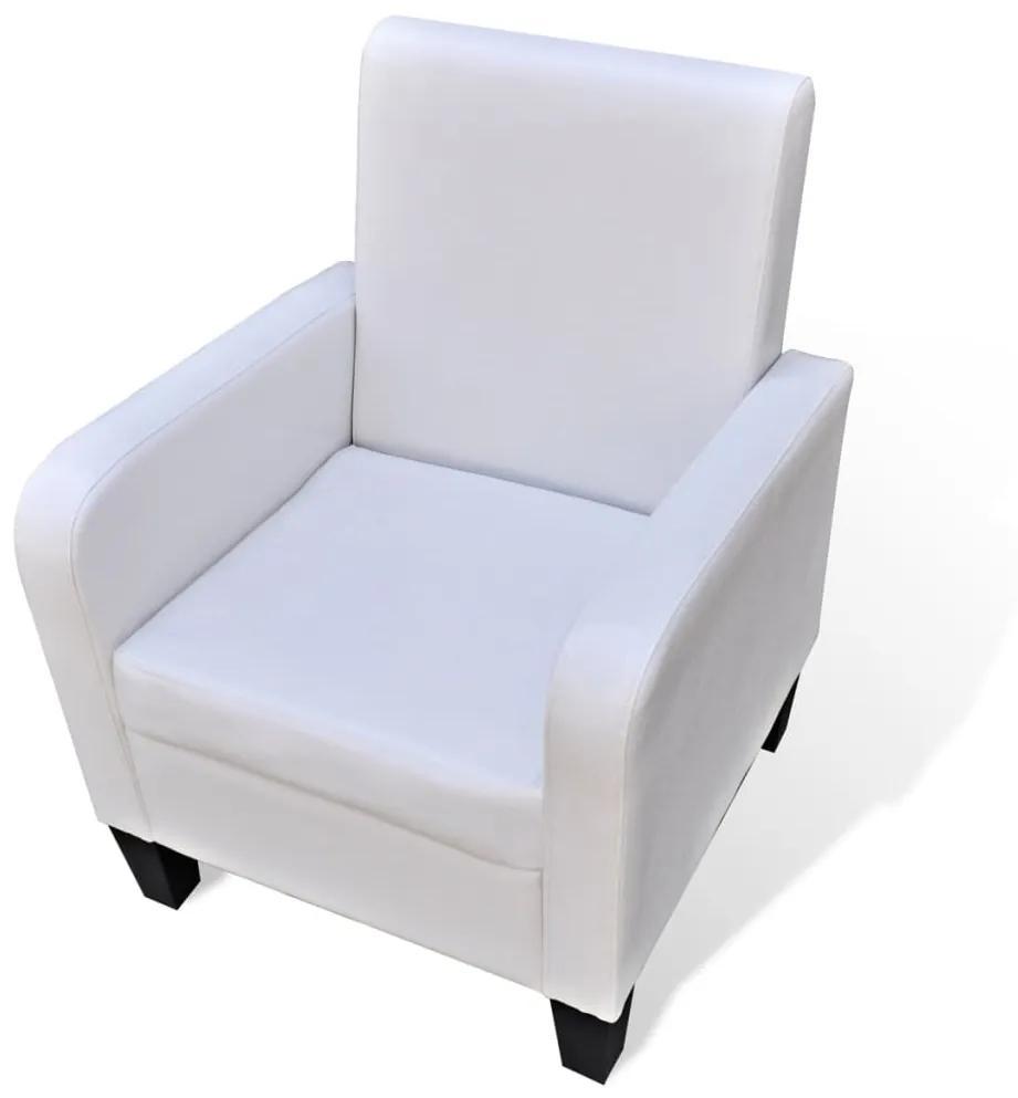 241110 vidaXL Fotoliu, alb, piele ecologică