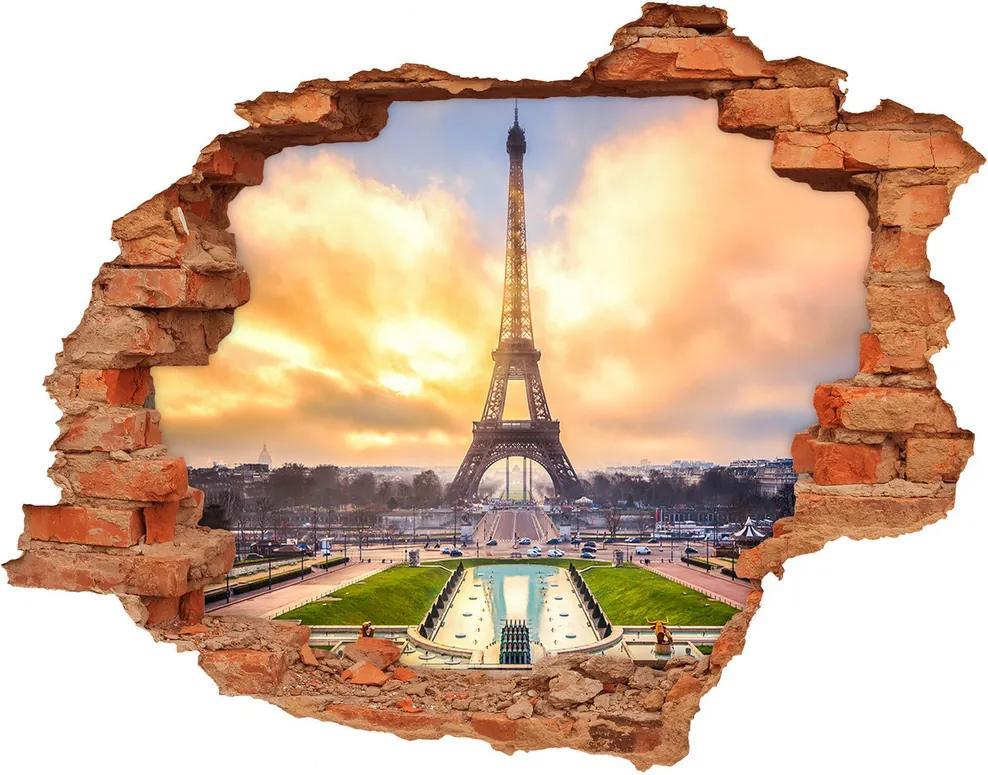Autocolant 3D gaura cu priveliște Turnul Eiffel din Paris