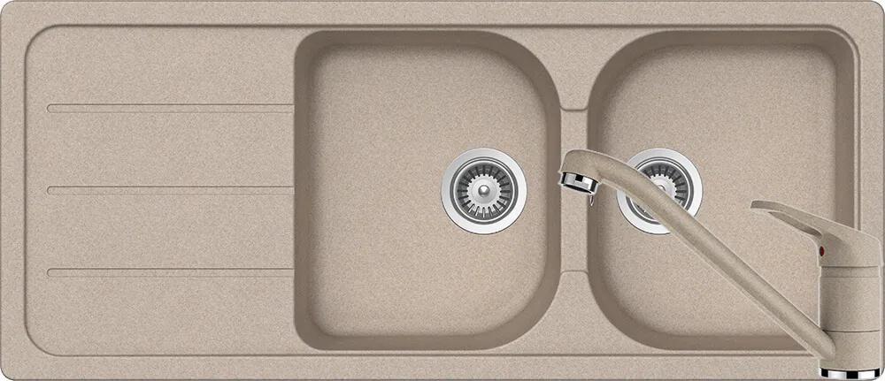 Set Chiuveta Schock Formhaus D-200 1160 x 500 mm si Baterie Schock Cosmo Sabbia Cristalite