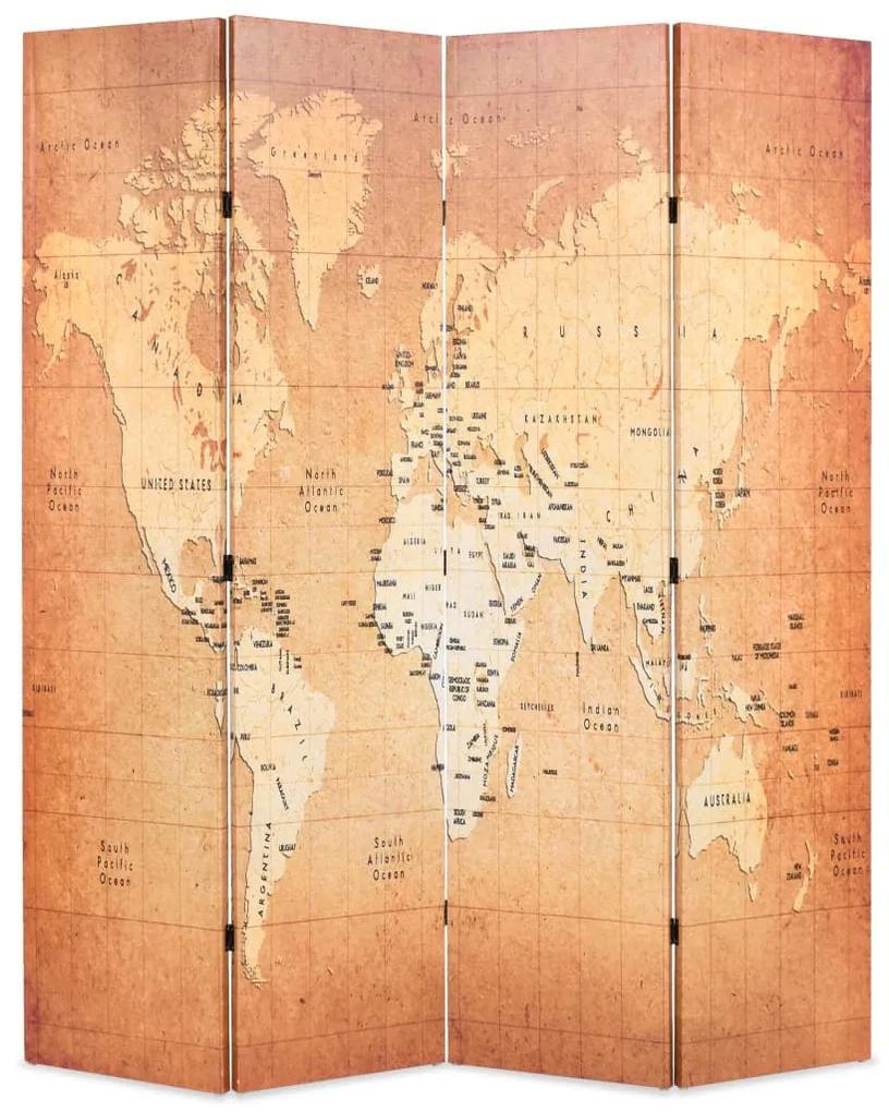 245878 vidaXL Paravan de cameră pliabil, galben, 160 x 170 cm, harta lumii