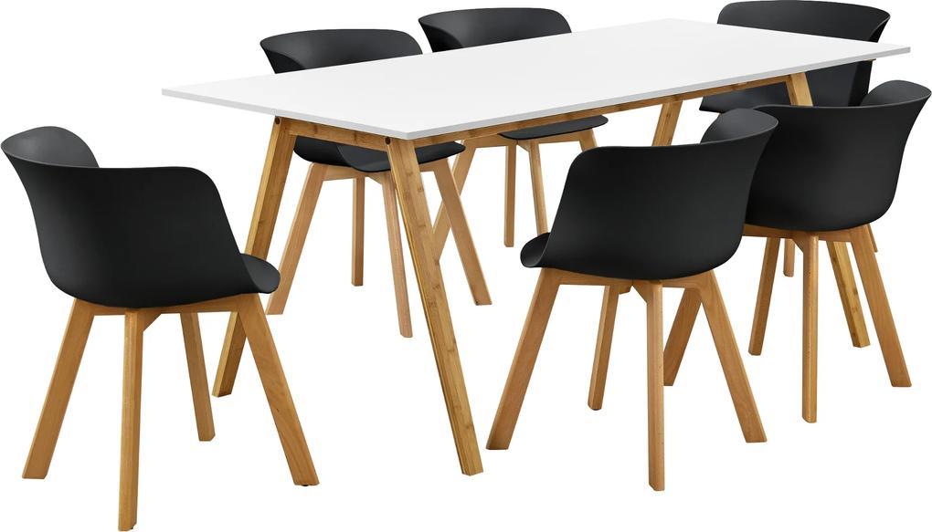 [en.casa]® Masa de bucatarie/salon bambus design Model 4, MDF/plastic/lemn de fag, 180 x 80 x 76 cm cu 6 scaune, alb/negru