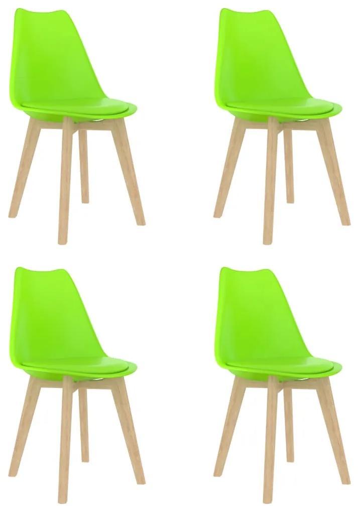 289143 vidaXL Scaune de bucătărie, 4 buc., verde, plastic