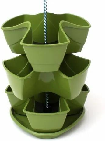 Ghiveci de plante Coubi 3 etaje, agăţător, închisverde
