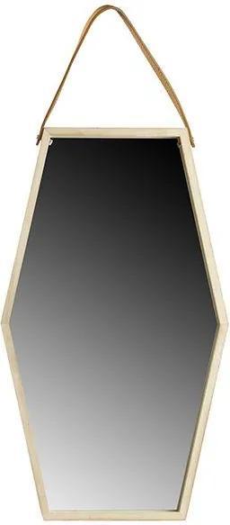 Oglinda hexagonala maro din lemn si piele 32x55 cm Feline
