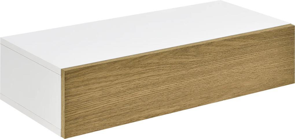 [en.casa] Raft de perete Iola1 cu compartiment pentru depozitare, 50 x 24 x 12 cm, PAL, alb/culoarea lemnului