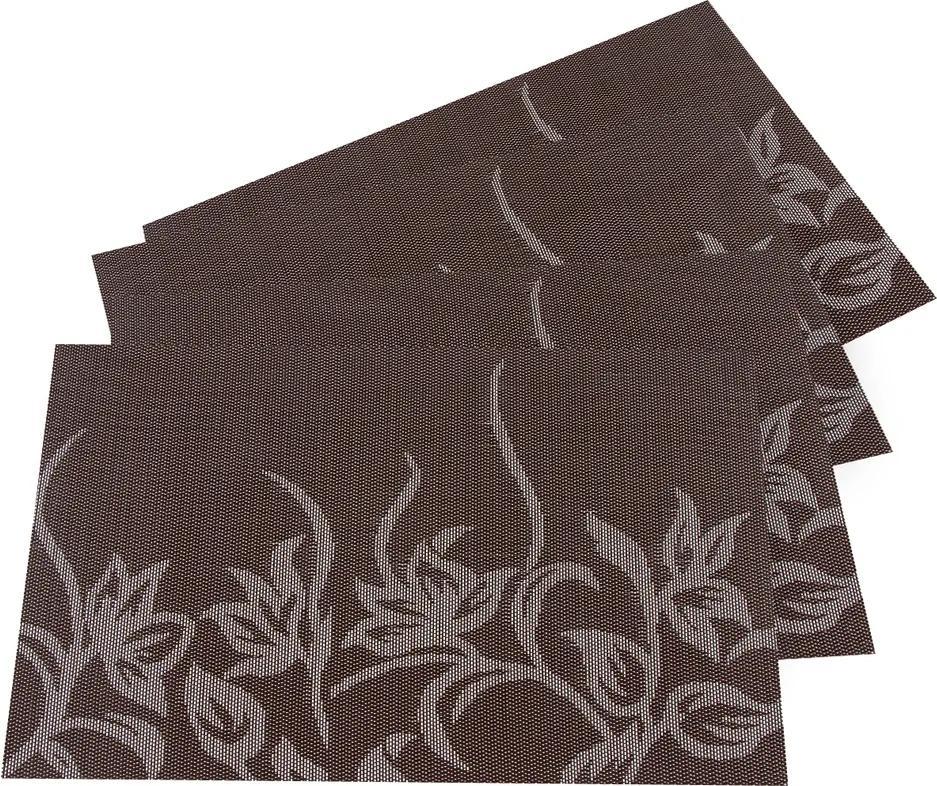 Suport farfurie Flori, maro închis, 30 x 45 cm, set 4 buc.