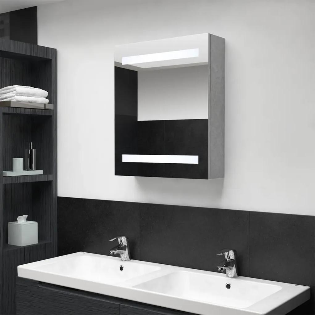 326479 vidaXL Dulap de baie cu oglindă și LED, gri beton, 50x14x60 cm