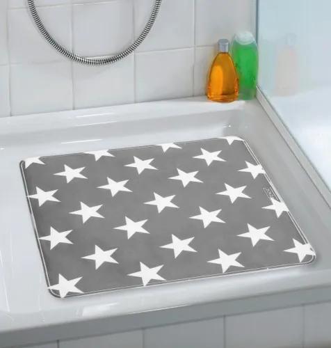 Covoras pentru baie antiderapant, din TPR, Stella Gri, 54 x 54 cm