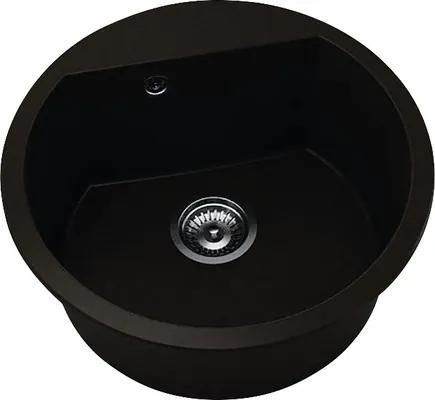 Chiuveta bucatarie rotunda FAT Avangard 223, marmura compozit, Ø 51 cm, Venge dark