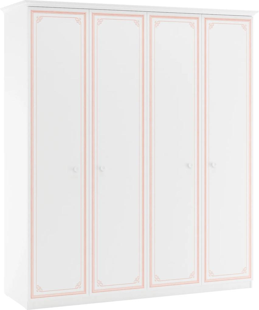 Dulap din PAL cu 4 usi Selena Pink 186x212x60 cm