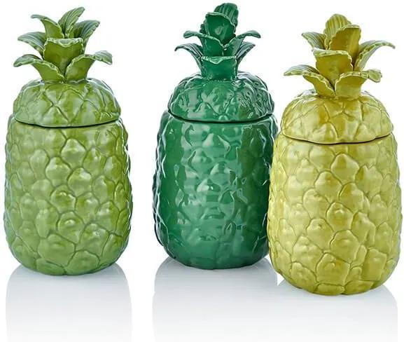 Set 3 Recipiente Ananas Verde/Galben/Albastru 9x9x20 cm