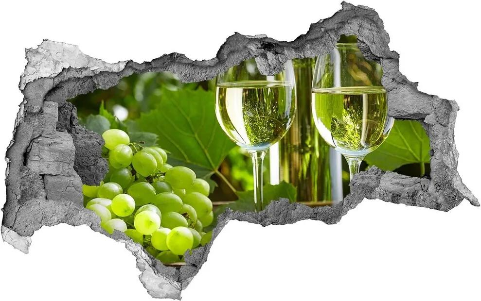Autocolant 3D gaura cu priveliște Vin alb și fructe