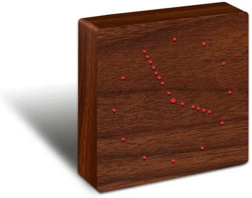 Ceas deșteptător cu LED Gingko Analogue Click Clock, maro-roșu