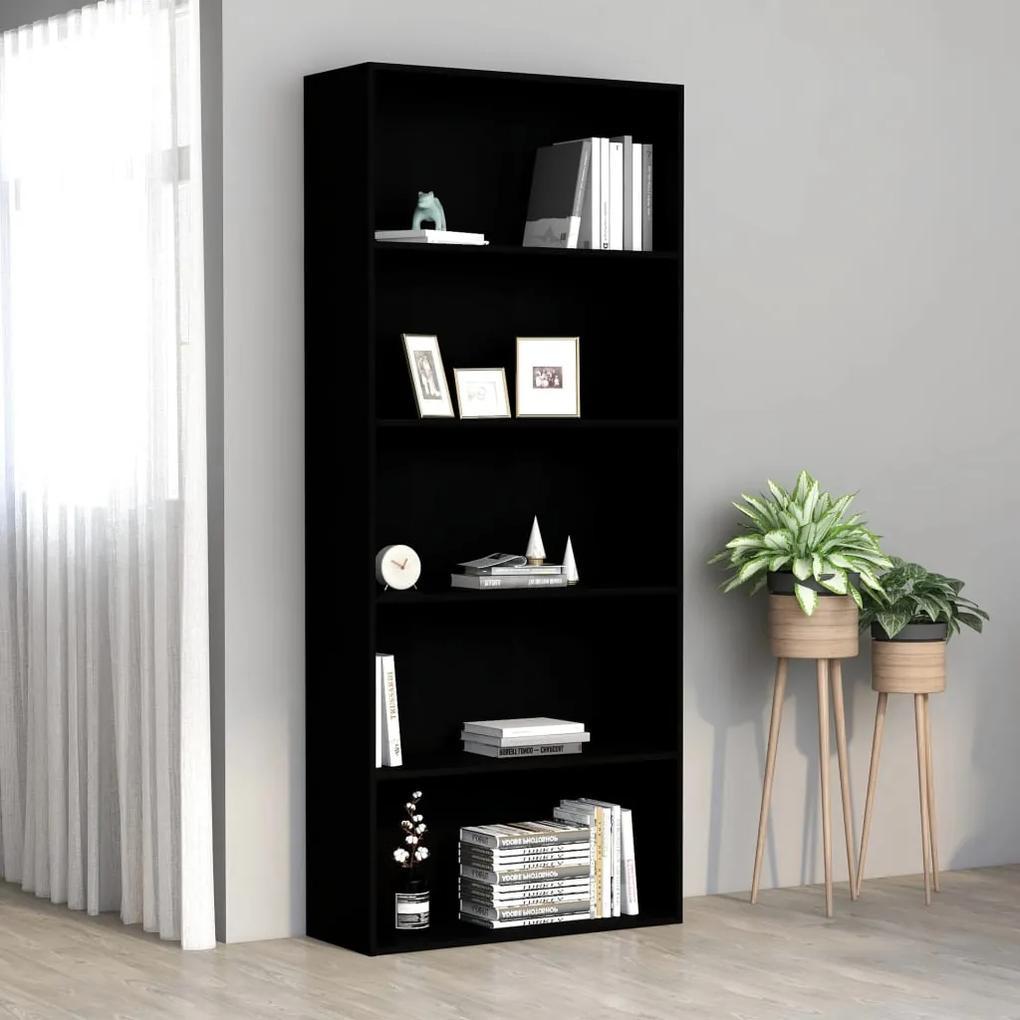801027 vidaXL Bibliotecă cu 5 rafturi, negru, 80 x 30 x 189 cm, PAL