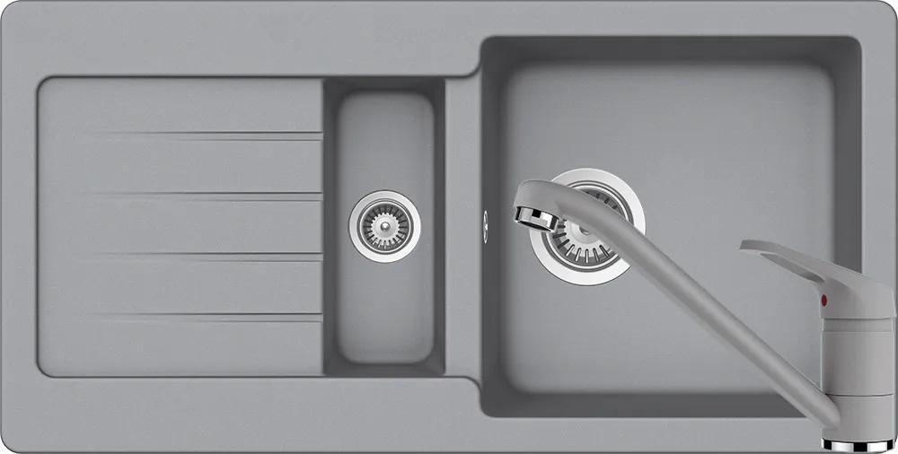 Set Chiuveta Schock Typos D-150S 860 x 435 mm si Baterie Schock Cosmo Croma Cristalite