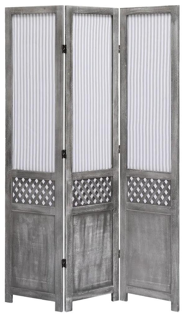 284215 vidaXL Paravan de cameră cu 3 panouri, gri, 105 x 165 cm, textil